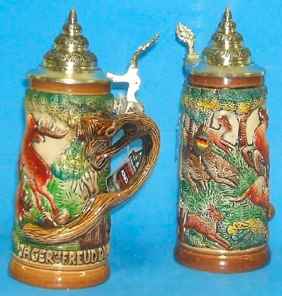 Hunter German Beer Stein with Fox Handle .4L